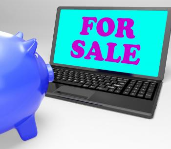 For Sale Laptop Means Advertising Products To Buyers