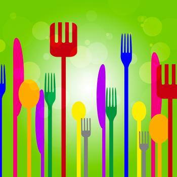 Forks Knives Shows Utensil Food And Green