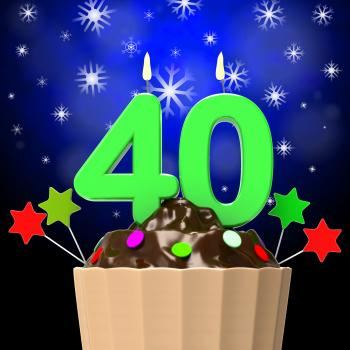 Forty Candle On Cupcake Means Forty Years Anniversary Or Party