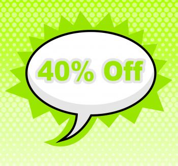 Forty Percent Off Shows Placard Sign And Retail