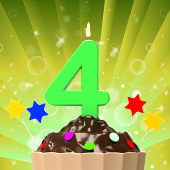 Four Candle On Cupcake Means Anniversary Party Or Happiness