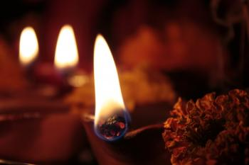 Four earthen lamps(diya) on diwali