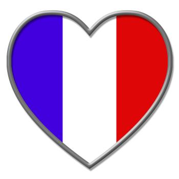 France Heart Means Valentines Day And Euro