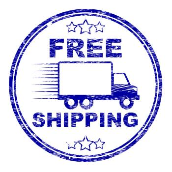 Free Shipping Stamp Represents For Nothing And Complimentary