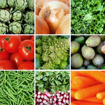 Fresh vegetables collage