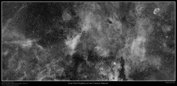From the Propellor to the Cresent Nebula, 4 panel mosaic in H-alpha. DSLR image