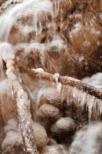 Frozen Harp Falls - Sepia Nostalgia
