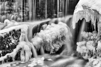 Frozen Phantom Falls - Black and White HDR