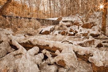 Frozen Sunset Waterfall - Sepia Nostalgia