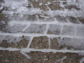 Frozen tire track