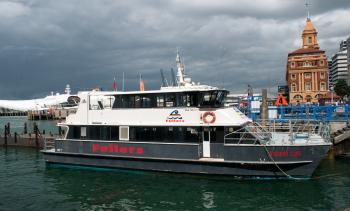 Fullers Tiger Cat ferry in front of Auckland Ferry Terminal