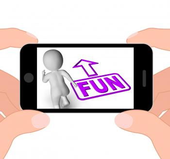 Fun And Running 3D Character Displays Amusement Starting Or Party