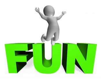 Fun Character Indicates Joy Jump And Enjoy 3d Rendering