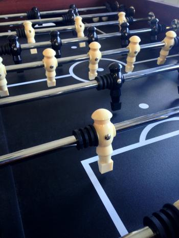 Fussball table players close up