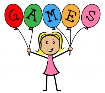 Games Balloons Represents Young Woman And Kids