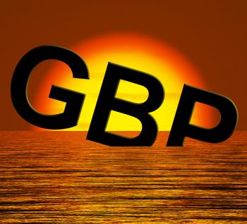 Gbp Word Sinking And Sunset Showing Depression Recession And Economic