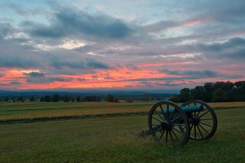 Gettysburg Cannon Sunset - HDR