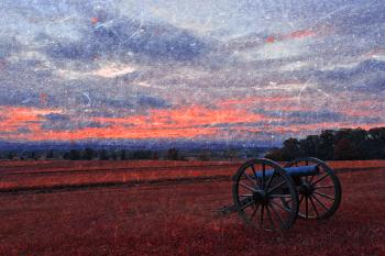 Gettysburg Cannon Sunset - Ruby Rapture