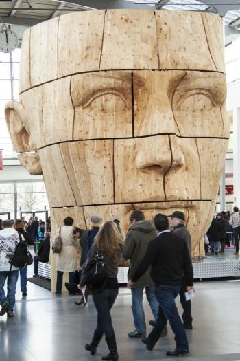 Giant Carved Head in the Building