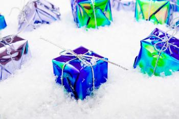 gift boxes in snow