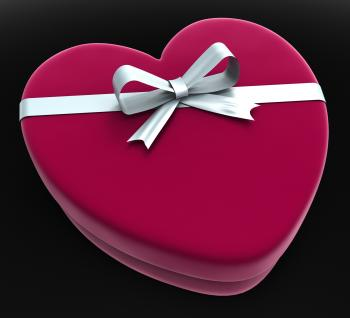 Gift Heart Means Valentine Day And Gift-Box