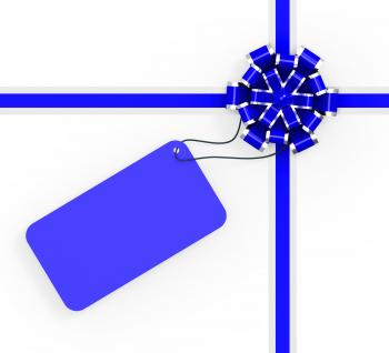 Gift Tag Indicates Greeting Card And Copy-Space