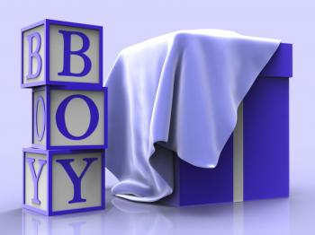 Giftbox Boy Indicates Present Occasion And Parenting