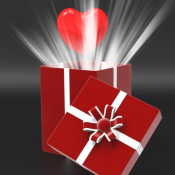 Giftbox Heart Shows Valentines Day And Affection