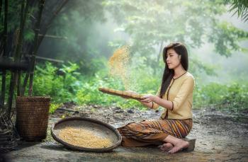 Girl Checking Rice
