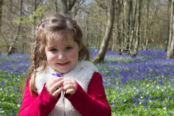 Girl in Red and Beige Jacket Holding Purple Petaled Flower