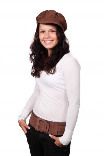 Girl in White Long Sleeve Shirt Wearing Brown Beret