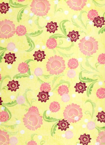 Girly Yellow Floral Paper