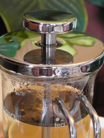 Glass Teapot with Green Tea