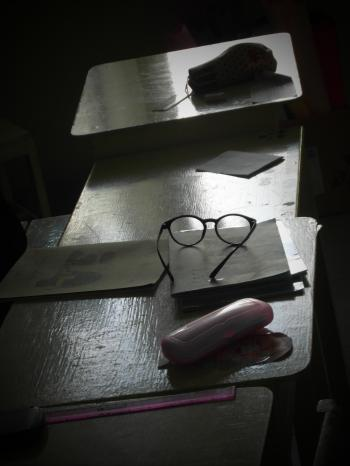 Glasses on a School Desk