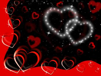 Glittering Hearts Background Show Tenderness Affection And Love