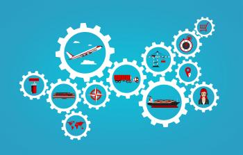 Global logistics concept with transport industry icons