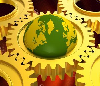 Global Network Means Keyboard Communication And Globe