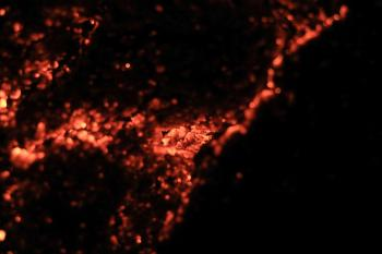 Glowing red hot coals