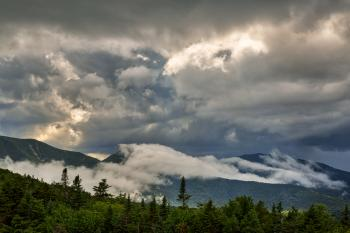 Glowing White Mountain Clouds - HDR