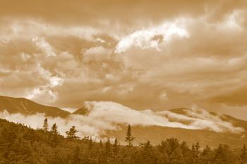 Glowing White Mountain Clouds - Sepia Cream Dream
