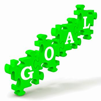 Goal Puzzle Shows Business Targets And Objectives