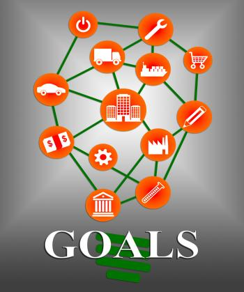 Goals Icons Shows Aspirations Targeting And Aspire