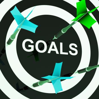 Goals On Dartboard Shows Aspirations