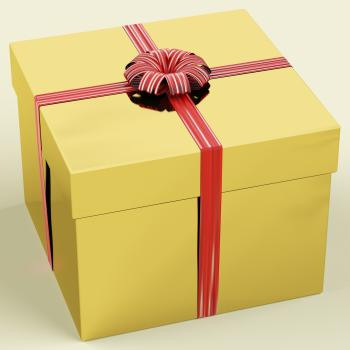 Gold Gift Box With Ribbon As Birthday Present