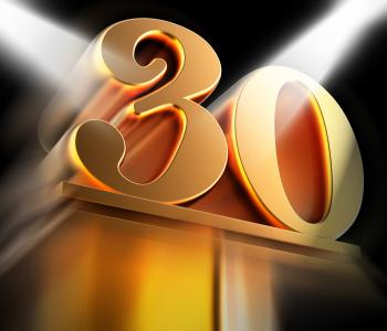 Golden Thirty On Pedestal Displays Thirtieth Victory Or Entertainment