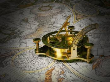 Golden Tool on White Brown and Black Map