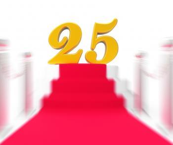 Golden Twenty Five On Red Carpet Displays Twenty Fifth Anniversary Rec