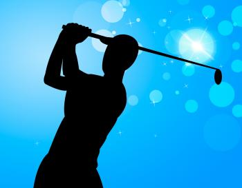 Golf Swing Represents Golfer Exercise And Golf-Club