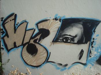 Graffiti on a street wall