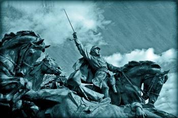 Grant Cavalry Statue - Cyanotype
